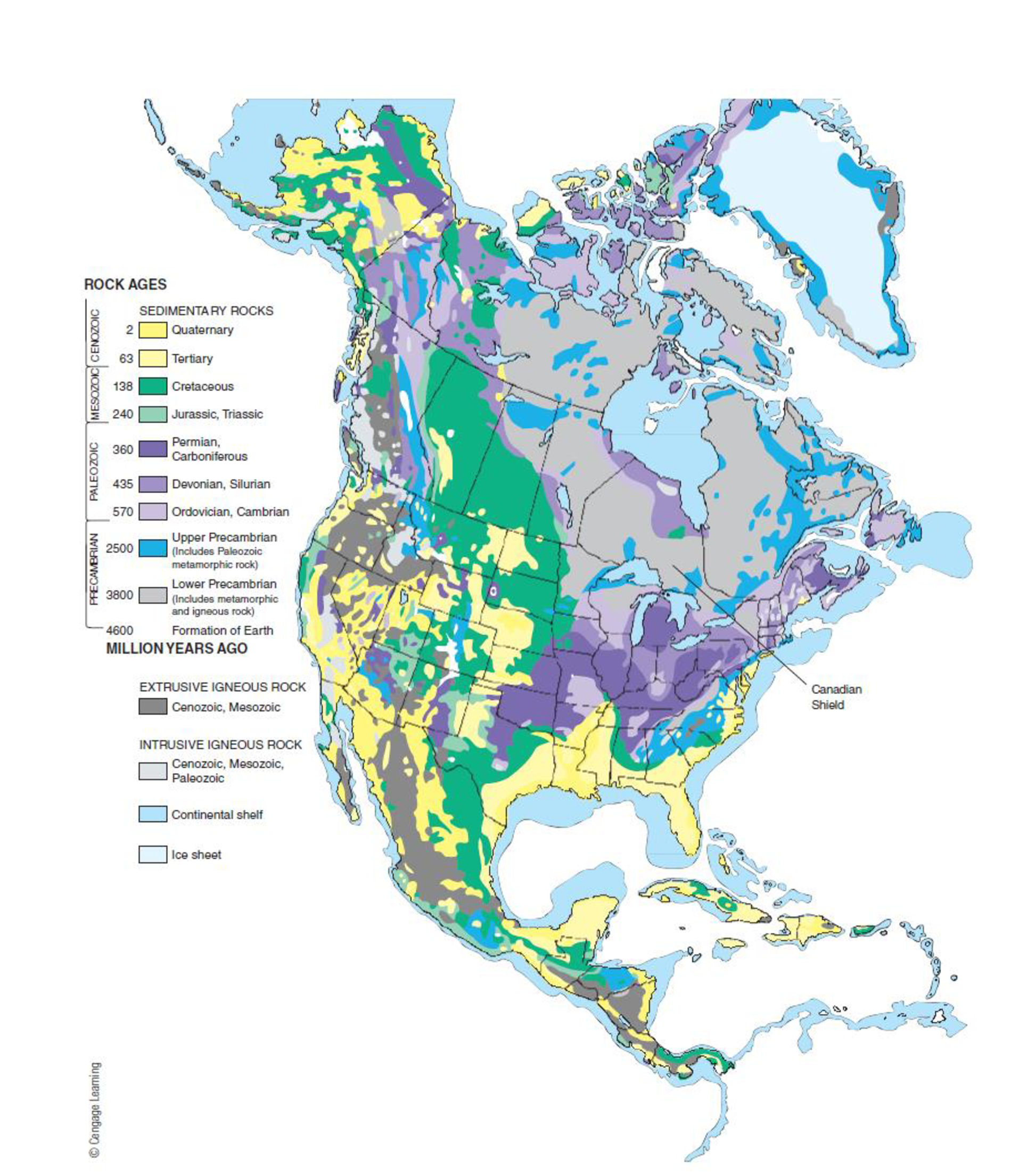 Chapter 10, Problem 33FQ, FIGURE 10.33 Map of North America showing the continental shield (Canadian shield) and the general