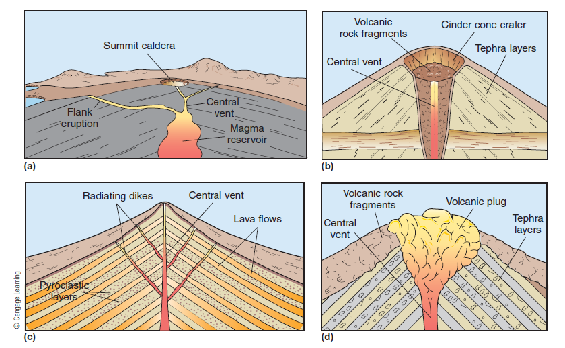Chapter 11, Problem 25FQ, FIGURE 11.25 The four basic types of volcanoes are (a) shield volcano, (b) cinder cone, (c)