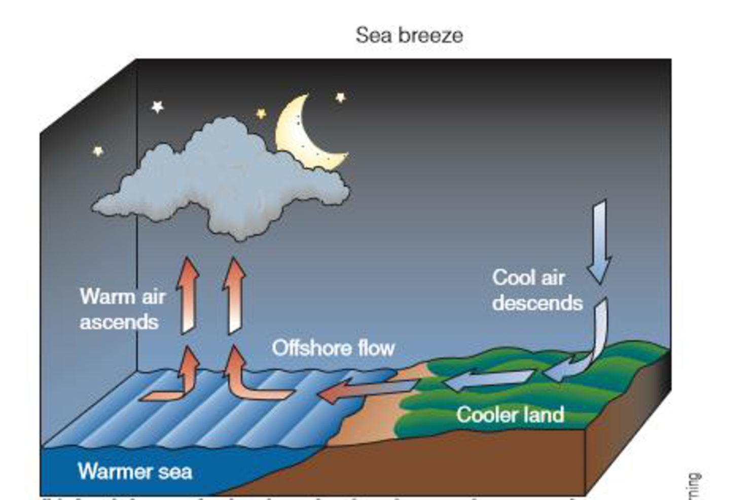 Chapter 4, Problem 17FQ, What is the impact on daytime coastal temperatures of the sea breeze? , example  2
