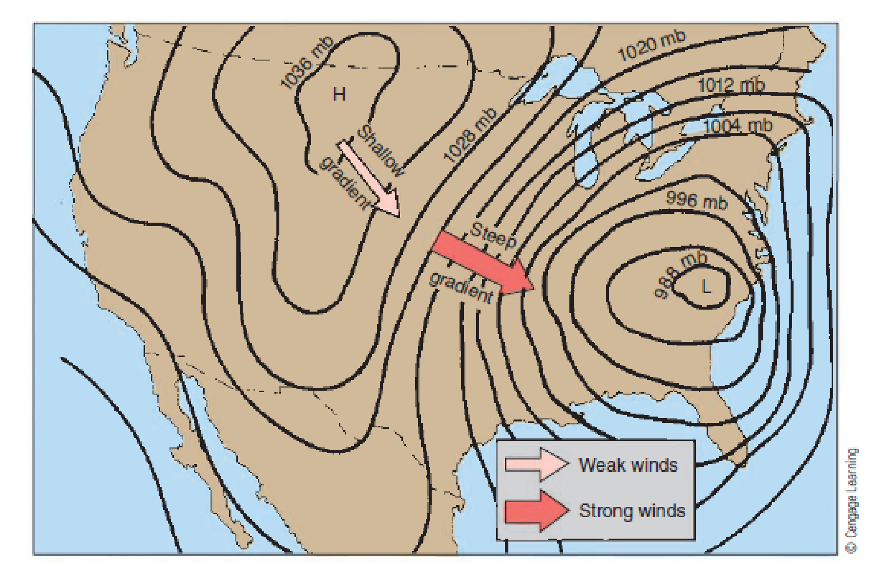 Chapter 4, Problem 5FQ, Where else on this figure (other than the area indicated) would there be strong winds?