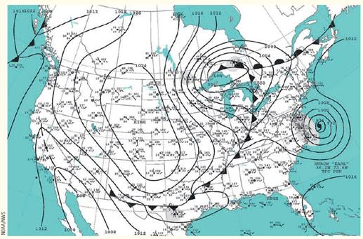 Chapter 6, Problem 1MI, What is the pressure interval (in millibars) between adjacent isobars on this weather map?
