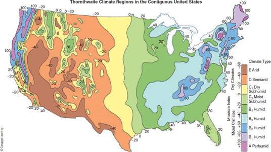 Chapter 7, Problem 2FQ, FIGURE 7.2 Thornthwaite climate regions in the contiguous United States are based on the