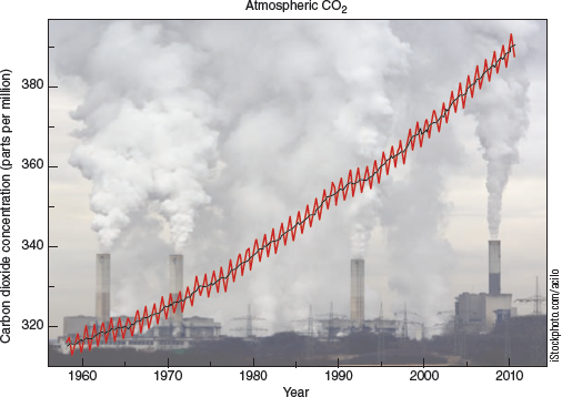 Chapter 8, Problem 25FQ, FIGURE 8.25 The steady increase since 1958 in the concentration of carbon dioxide in the atmosphere
