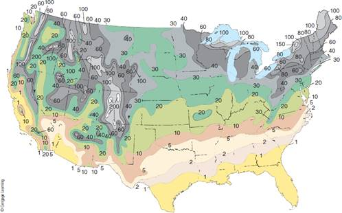 Chapter 8, Problem 2FQ, FIGURE 8.2 Map of the contiguous United States, showing average annual number of days with snow