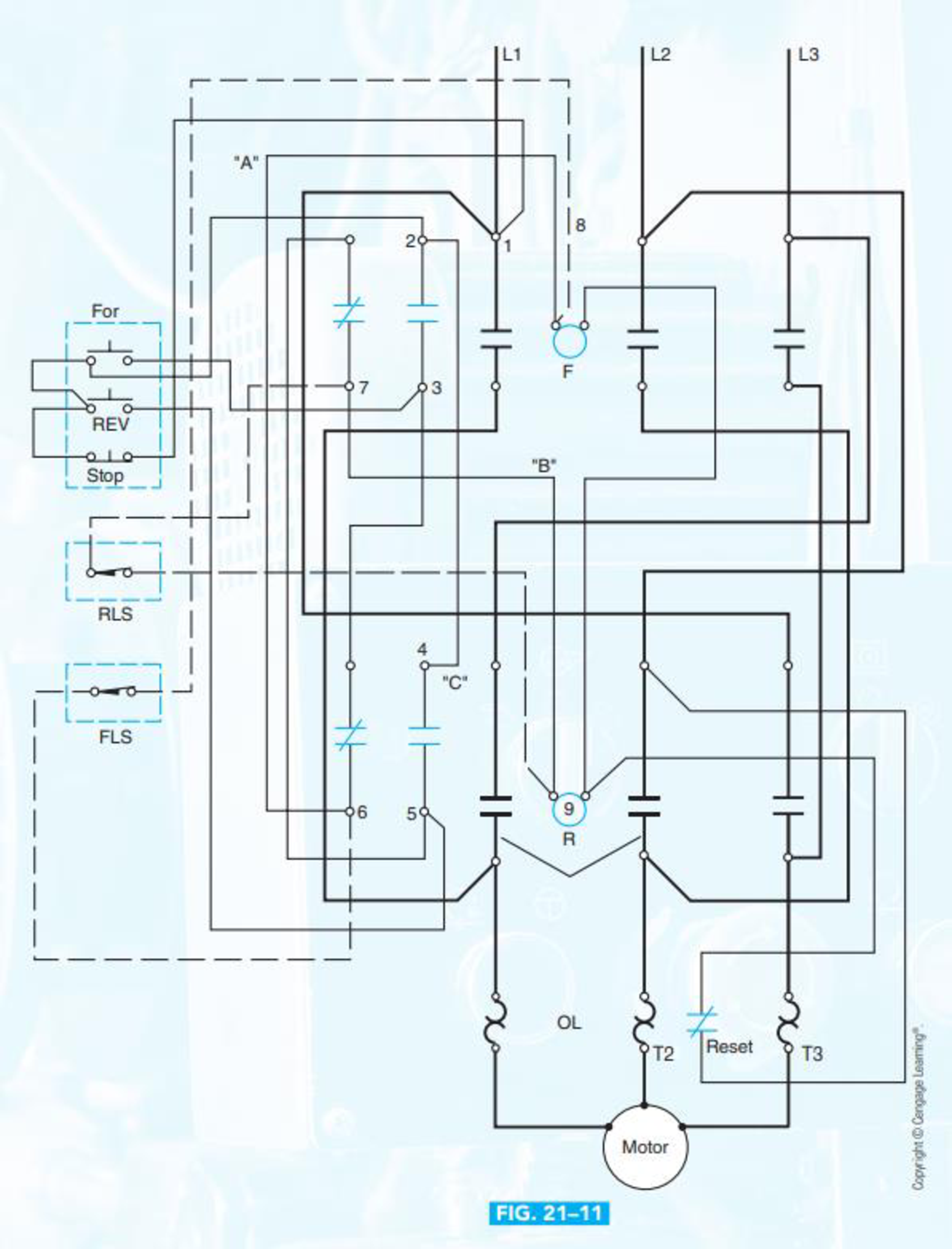 Chapter 21, Problem 12SQ, Convert the control circuit only, Figure 2111, from the wiring diagram to an elementary diagram.