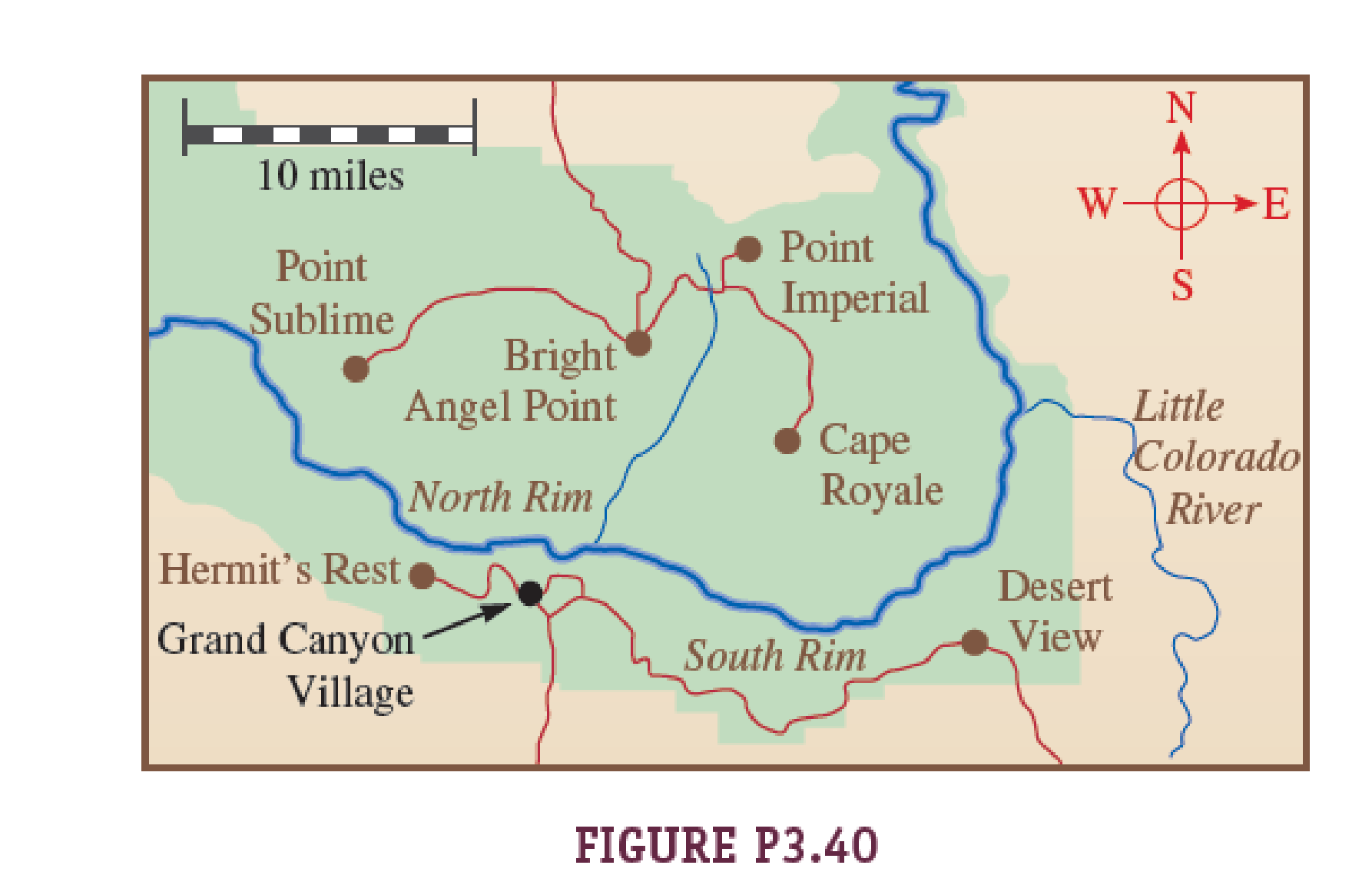 grand canyon np map Figure P3 40 Shows A Map Of Grand Canyon National Park In Arizona grand canyon np map