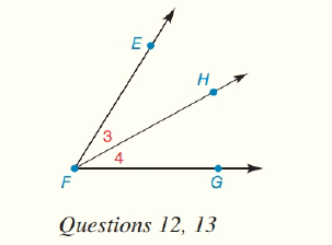 Chapter 1.CT, Problem 13CT, In the figure, m3=x and m4=2x3. If mEFG=69, find: a x___________ b m4________