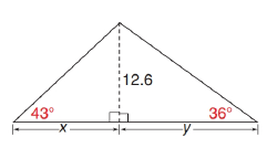 Chapter 11.3, Problem 44E, In the triangle shown, find each measure to the nearest tenth of a unit. a x b y c A, the area of