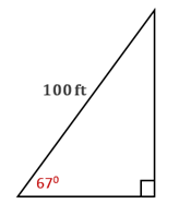Chapter 11.CT, Problem 11CT, A kite is flying at an angle of elevation of 670 with the ground. If 100 ft of string have been paid