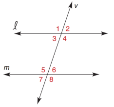 Chapter 2.1, Problem 4E, For Exercises 1 to 4, lm with transversal v. If m4=110.8, find: a m5 b m8 Exercises 14