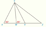 Chapter 2.CT, Problem 19CT, In XYZ, XYZ is trisected by YW and YV. With angle measures as shown, find mZ.____________