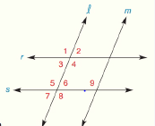 Chapter 2.CT, Problem 2CT, In the accompanying figure, m2=68, m8=112, and m9=110. a.Which lines r and s OR l and m must be