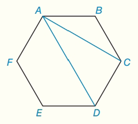 Chapter 7.CT, Problem 15CT, For a regular hexagon ABCDEF, the length of side AB is 4 in. Find the exact length of adiagonal AC.
