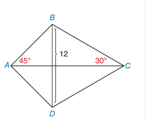 Chapter 8.2, Problem 17E, In Exercises 13 to 18, find the area of the given polygon. kite ABCD with BD=12 mBAC=45,mBCA=30