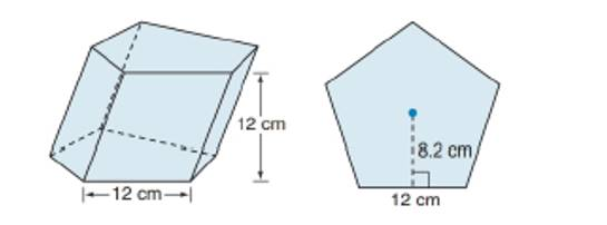 Chapter 9.1, Problem 43E, For Exercise 43 to 45, consider the oblique regular pentagonal prism shown. Each side of the base