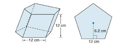 Chapter 9.1, Problem 45E, For Exercise 43 to 45, consider the oblique regular pentagonal prism shown. Each side of the base