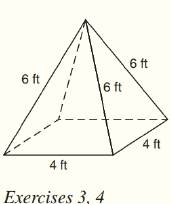 Chapter 9.CT, Problem 4CT, For the regular square pyramid shown above, find a the lateral area. _______ b the total area.