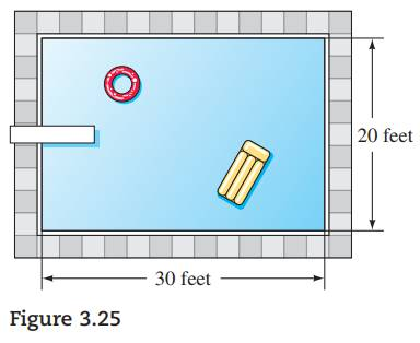 Chapter 3.CR, Problem 112CR, For Problems 105 114, set up an equation and solve each problem. A rectangular-shaped pool 20 feet