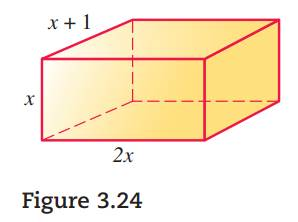 Chapter 3.CR, Problem 42CR, Find a polynomial that represents the volume of the rectangular solid in Figure 3.24.