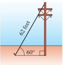 Chapter 6.2, Problem 80PS, A 62-foot guy-wire makes an angle of 60 with the ground and is attached to a telephone pole see