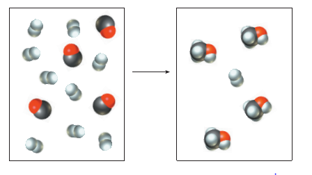 Chapter 4, Problem 4.77PAE, The pictures below show a molecular-scale view of a chemical reaction between H2 and CO to produce