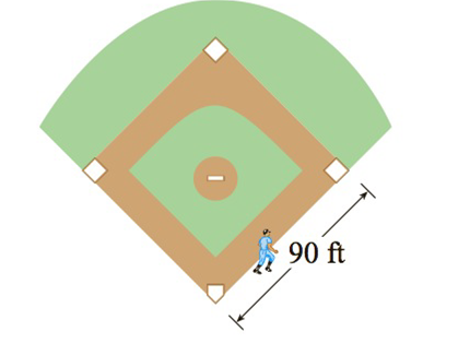 Chapter 2.8, Problem 20E, A baseball diamond is a square with side 90 ft. A batter hits the ball and runs toward first base