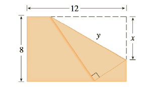 Chapter 3.7, Problem 73E, The upper right-hand corner of a piece of paper, 12 in. by 8 in., as in the figure, is folded over