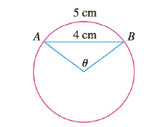 Chapter 3.8, Problem 38E, In the figure, the length of the chord AB is 4 cm and the length of the arc AB is 5 cm. Find the