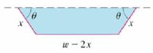 Chapter 14, Problem 3P, A long piece of galvanized sheet metal with width w is to be bent into a symmetric form with three