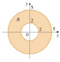 Chapter 15.3, Problem 1E, A region R is shown. Decide whether to use polar coordinates or rectangular coordinates and write