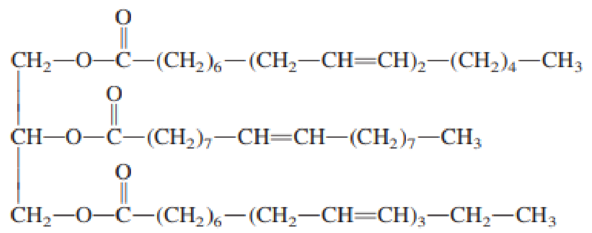 Chapter 19, Problem 19.59EP, How many molecules of H2 will react with one molecule of the following triacylglycerol?