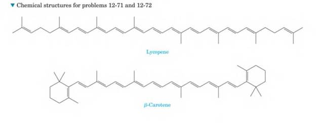 Chapter 12, Problem 12.71P, Refer to the structure of lycopene at the bottom of the page ?. Lycopene, C4OH56, is a deep-red