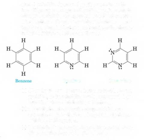 Chapter 13, Problem 13.57P, 13-57 Benzene, as we have seen in this chapter, is the simplest aromatic compound. Pyidine is an
