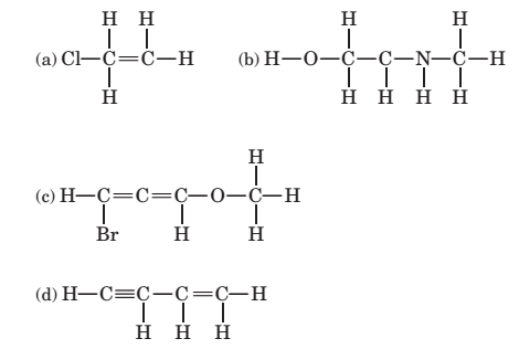 Chapter 3, Problem 3.122P, 3-122 Some of the following structural formulas are incorrect because they contain one or more atoms