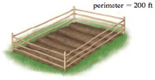 Chapter 1.7, Problem 43E, Dimensions of a Garden A farmer has a rectangular garden plot surrounded by 200 ft of fence. Find