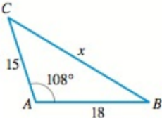 Chapter 6.6, Problem 4E, Finding an Angle or Side Use the Law of Cosines to determine the indicated side x or angle . 4.