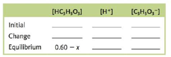 Chapter 13, Problem 164CWP, Consider a 0.60-M solution of HC3H5O3, lactic acid (Ka = 1.4  104). a. Which of the following are