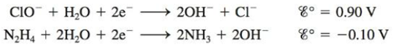 Chapter 17, Problem 65E, Hydrazine is somewhat toxic. Use the half-reactions shown below to explain why household bleach (a
