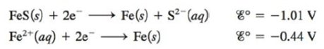 Chapter 17, Problem 89E, Calculate Ksp for iron(II) sulfide given the following data: