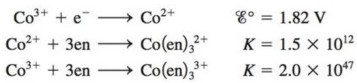 Chapter 20, Problem 91CP, Consider the following data: where en = ethylenediamine. a. Calculate for the half-reaction b. Based , example  1