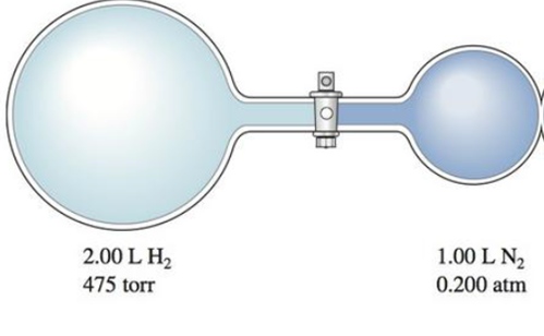 Chapter 8, Problem 85E, Consider the flasks in the following diagram. What are the final partial pressures of H2 and N2