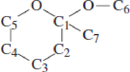 Chapter 4, Problem 4.101EP, Which carbon atom is the acetal carbon atom in each of the following structures? , example  2