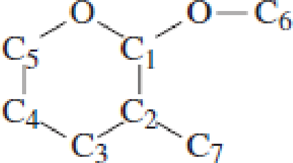 Chapter 4, Problem 4.102EP, Which carbon atom is the acetal carbon atom in each of the following structures? , example  2