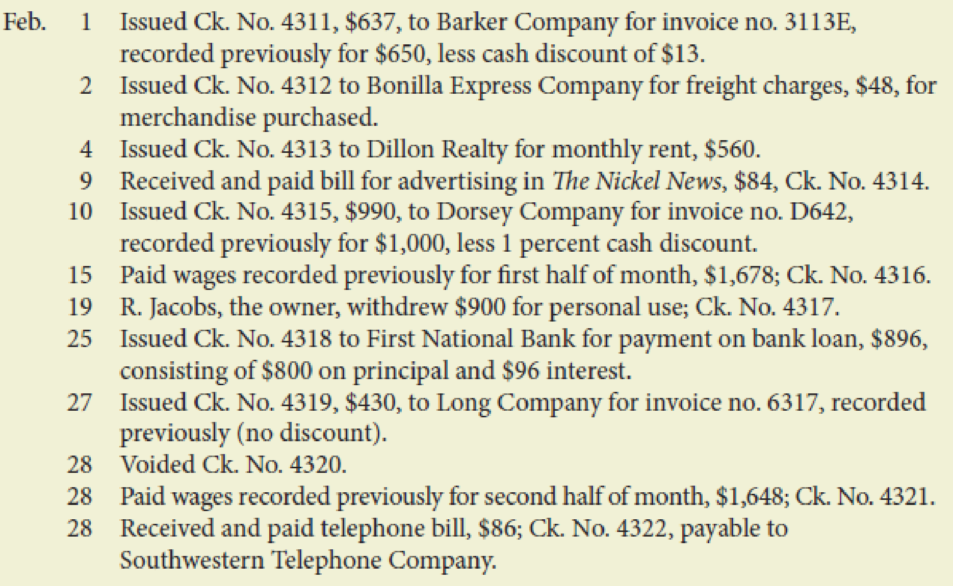Chapter 10, Problem 3PB, Jacobs Company had the following transactions that occurred during February of this year: Required