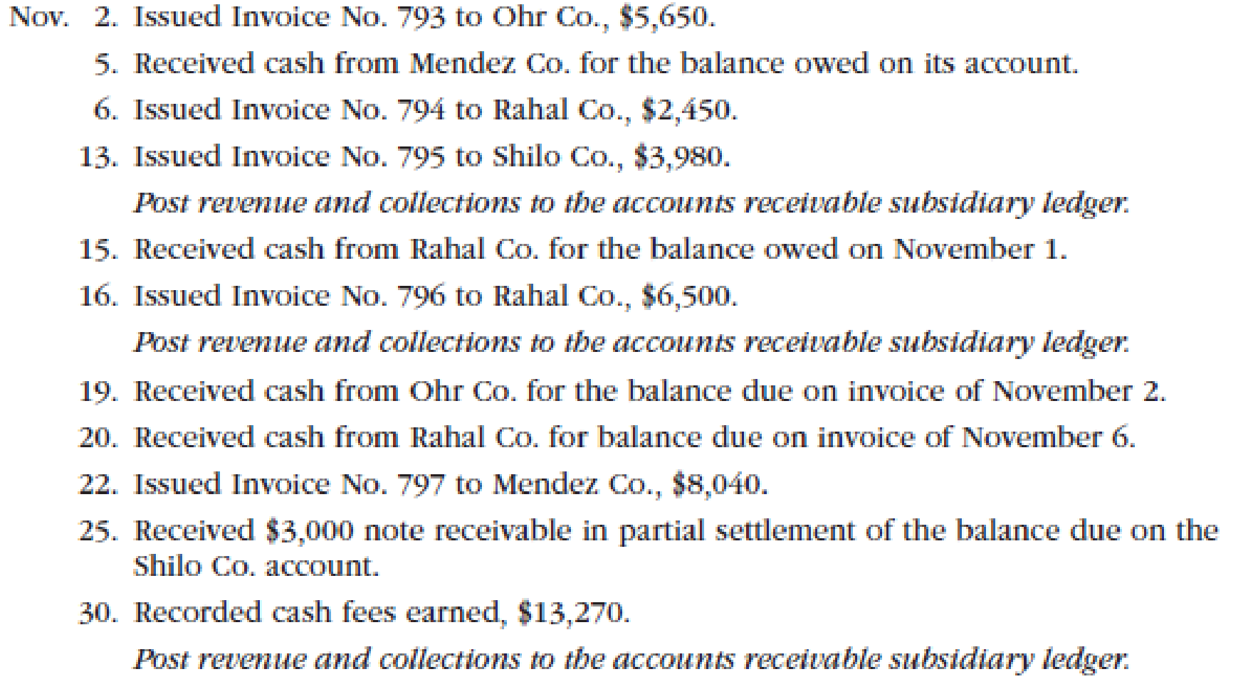 Chapter 5, Problem 2PA, Transactions related to revenue and cash receipts completed by Albany Architects Co. during the , example  1