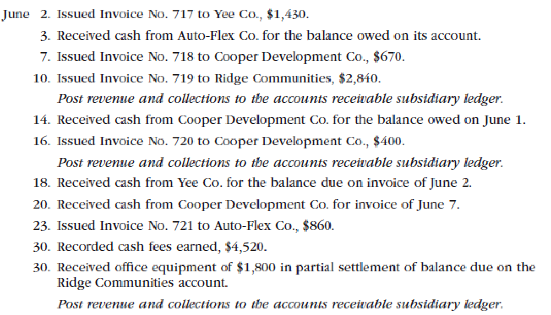 Chapter 5, Problem 2PB, Transactions related to revenue and cash receipts completed by Sterling Engineering Services during , example  1