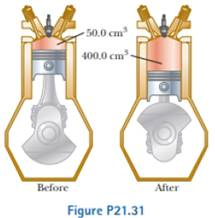 Chapter 21, Problem 21.31P, During the power stroke in a four-stroke automobile engine, the piston is forced down as the mixture