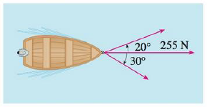 Chapter 12, Problem 13RE, A boat is pulled onto shore using two ropes, as shown in the diagram. If a force of 255 N is needed,