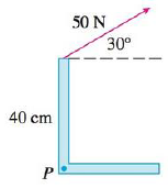 Chapter 12, Problem 14RE, Find the magnitude of the torque about P if a 50-N force is applied as shown.