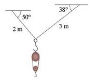 Chapter 12.2, Problem 37E, A block-and-tackle pulley hoist is suspended in a warehouse by ropes of lengths 2 m and 3 m. The